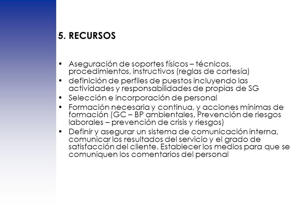 5. RECURSOS Aseguración de soportes físicos – técnicos, procedimientos, instructivos (reglas de cortesía) definición de perfiles de puestos incluyendo