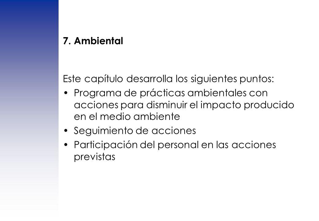 7. Ambiental Este capítulo desarrolla los siguientes puntos: Programa de prácticas ambientales con acciones para disminuir el impacto producido en el