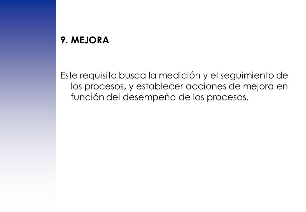 Este requisito busca la medición y el seguimiento de los procesos, y establecer acciones de mejora en función del desempeño de los procesos. 9. MEJORA