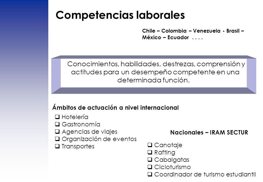 Competencias laborales Chile – Colombia – Venezuela - Brasil – México – Ecuador.... Conocimientos, habilidades, destrezas, comprensión y actitudes par