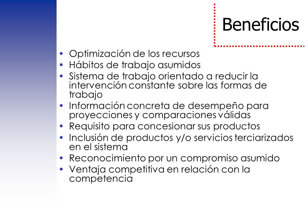 Beneficios Optimización de los recursos Hábitos de trabajo asumidos Sistema de trabajo orientado a reducir la intervención constante sobre las formas
