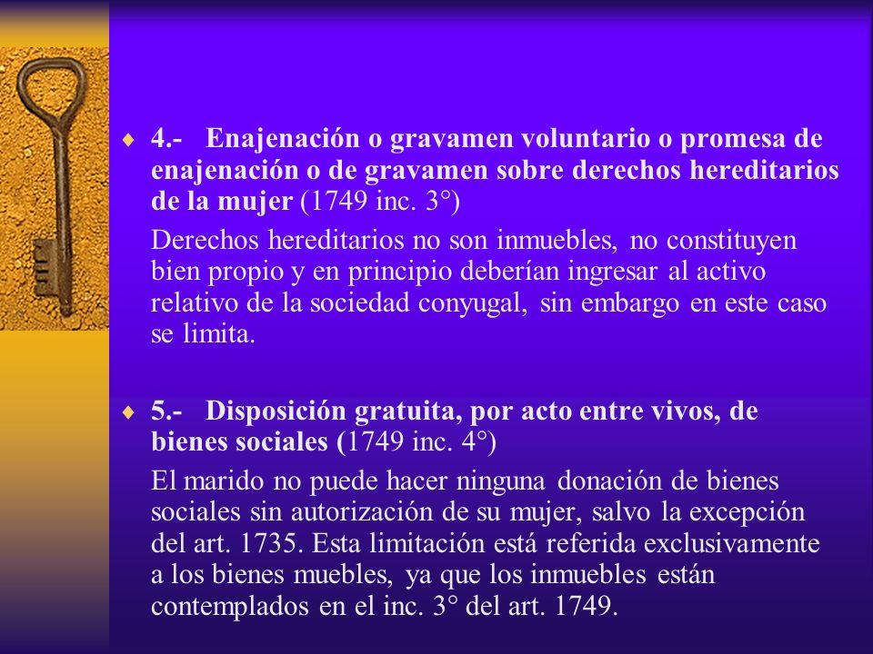 4.-Enajenación o gravamen voluntario o promesa de enajenación o de gravamen sobre derechos hereditarios de la mujer (1749 inc. 3°) Derechos hereditari