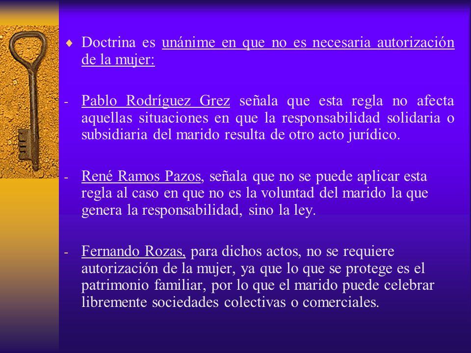 Doctrina es unánime en que no es necesaria autorización de la mujer: - Pablo Rodríguez Grez señala que esta regla no afecta aquellas situaciones en qu