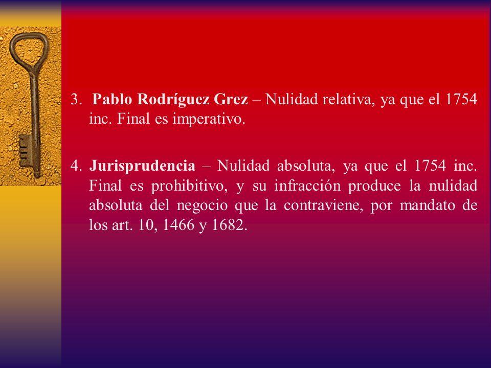 3. Pablo Rodríguez Grez – Nulidad relativa, ya que el 1754 inc. Final es imperativo. 4. Jurisprudencia – Nulidad absoluta, ya que el 1754 inc. Final e