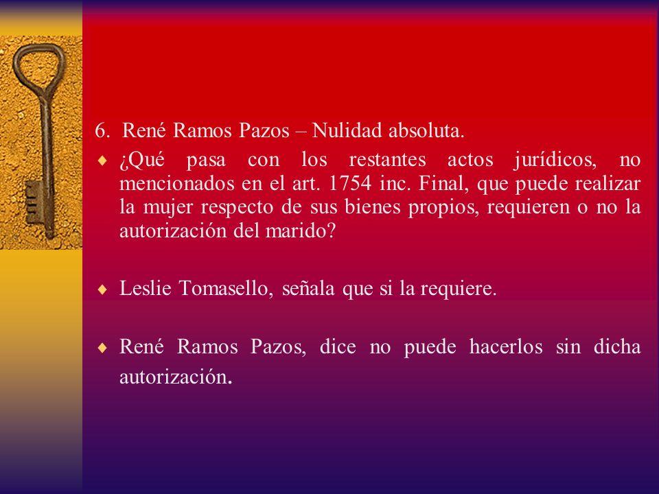 6. René Ramos Pazos – Nulidad absoluta. ¿Qué pasa con los restantes actos jurídicos, no mencionados en el art. 1754 inc. Final, que puede realizar la