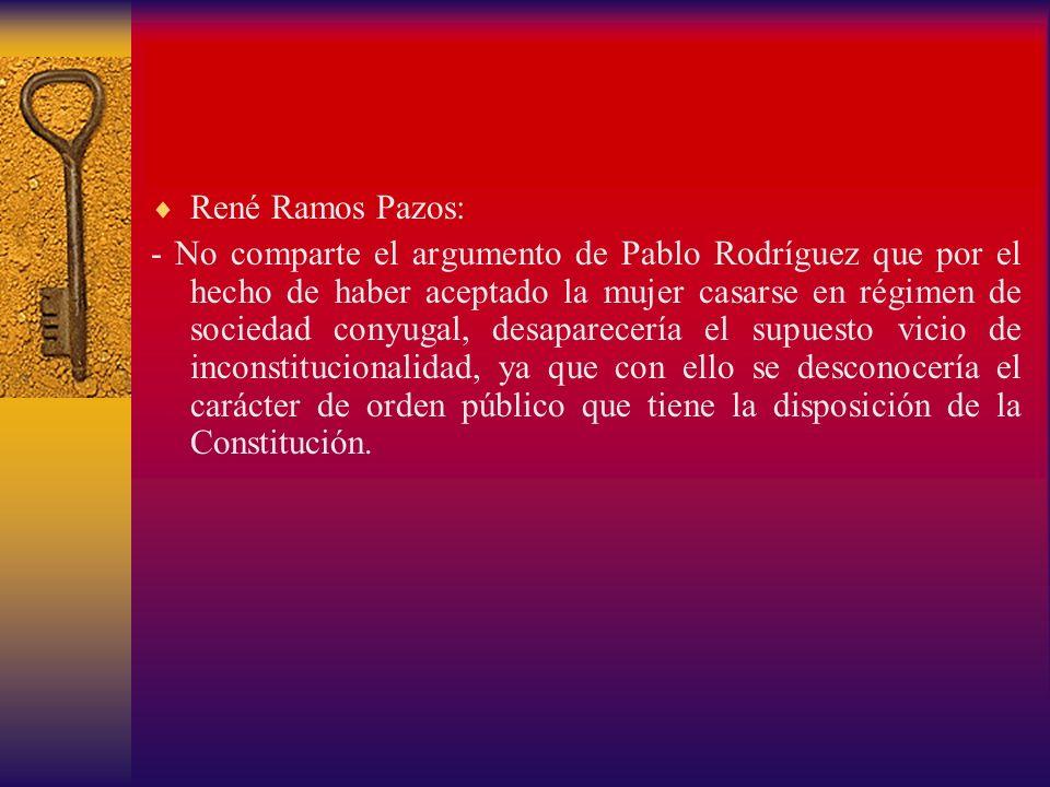 René Ramos Pazos: - No comparte el argumento de Pablo Rodríguez que por el hecho de haber aceptado la mujer casarse en régimen de sociedad conyugal, d