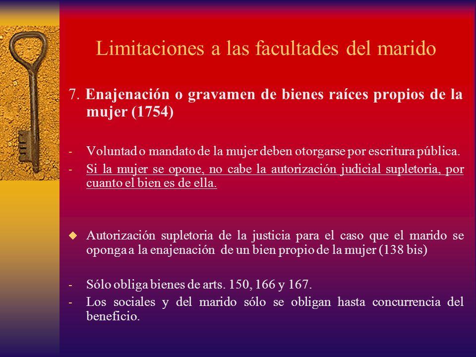 Limitaciones a las facultades del marido 7. Enajenación o gravamen de bienes raíces propios de la mujer (1754) - Voluntad o mandato de la mujer deben
