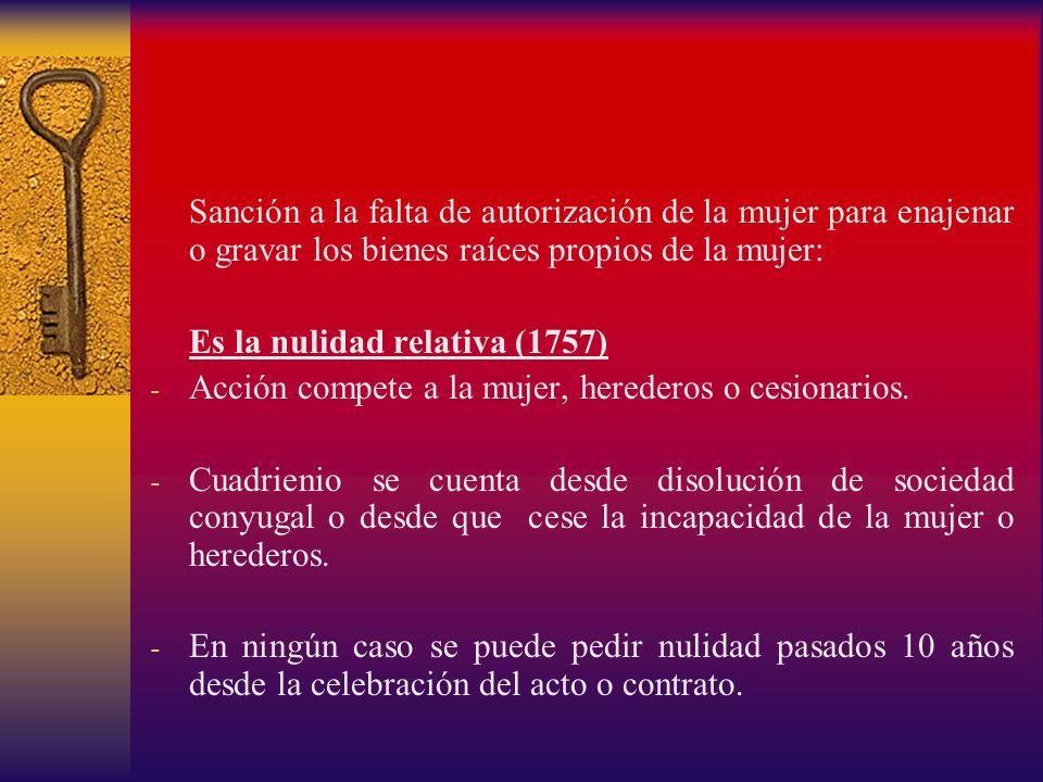 Sanción a la falta de autorización de la mujer para enajenar o gravar los bienes raíces propios de la mujer: Es la nulidad relativa (1757) - Acción co