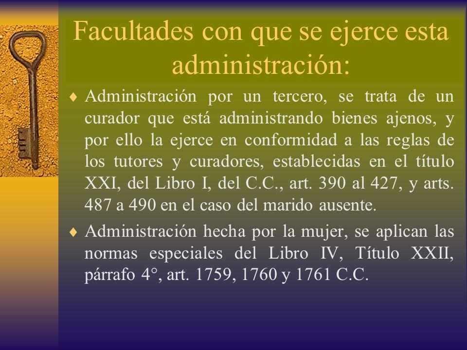 Facultades con que se ejerce esta administración: Administración por un tercero, se trata de un curador que está administrando bienes ajenos, y por el