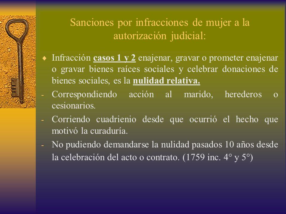 Sanciones por infracciones de mujer a la autorización judicial: Infracción casos 1 y 2 enajenar, gravar o prometer enajenar o gravar bienes raíces soc