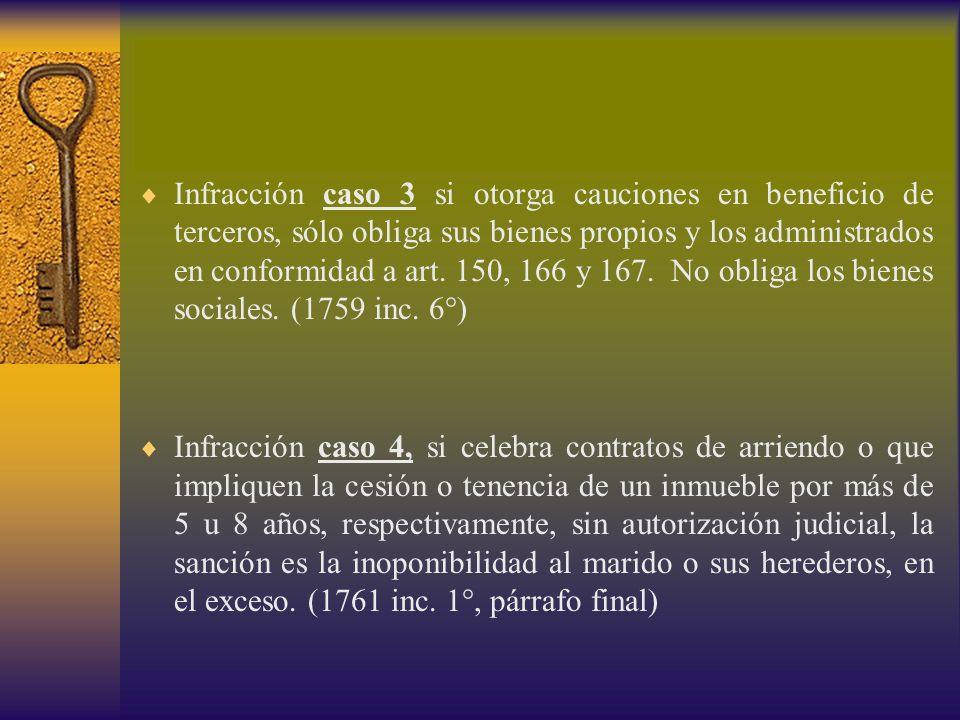Infracción caso 3 si otorga cauciones en beneficio de terceros, sólo obliga sus bienes propios y los administrados en conformidad a art. 150, 166 y 16