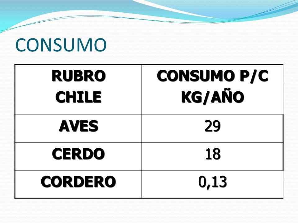 CONSUMO RUBROCHILE CONSUMO P/C KG/AÑO AVES29 CERDO18 CORDERO0,13