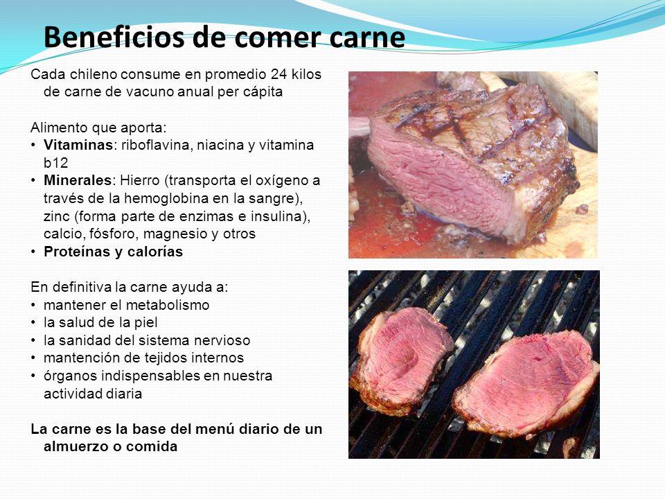 Beneficios de comer carne Cada chileno consume en promedio 24 kilos de carne de vacuno anual per cápita Alimento que aporta: Vitaminas: riboflavina, n