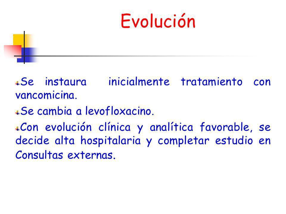 Evolución Se instaura inicialmente tratamiento con vancomicina. Se cambia a levofloxacino. Con evolución clínica y analítica favorable, se decide alta