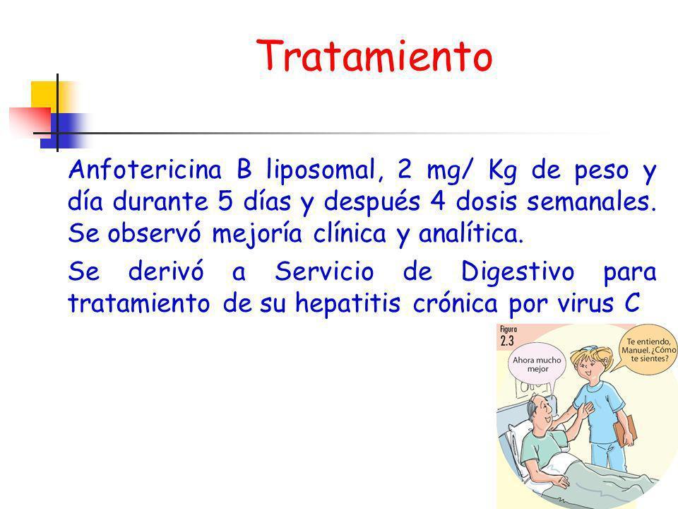 Tratamiento Anfotericina B liposomal, 2 mg/ Kg de peso y día durante 5 días y después 4 dosis semanales. Se observó mejoría clínica y analítica. Se de