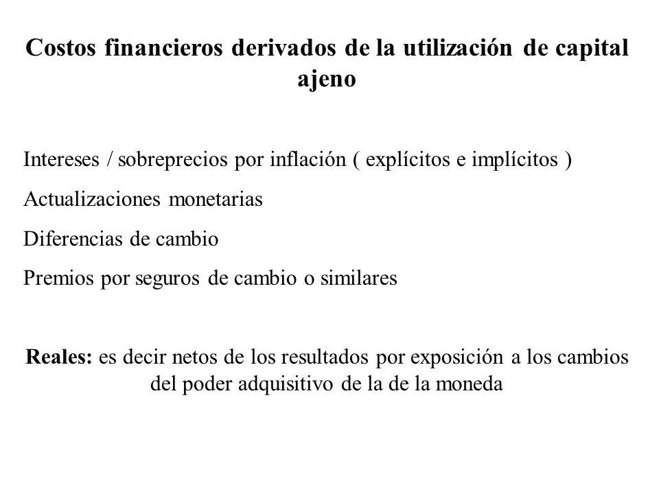 Costos financieros derivados de la utilización de capital ajeno Intereses / sobreprecios por inflación ( explícitos e implícitos ) Actualizaciones mon