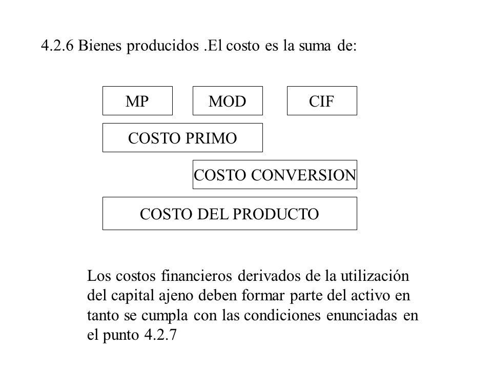 4.2.6 Bienes producidos.El costo es la suma de: MPMODCIF COSTO PRIMO COSTO CONVERSION COSTO DEL PRODUCTO Los costos financieros derivados de la utiliz