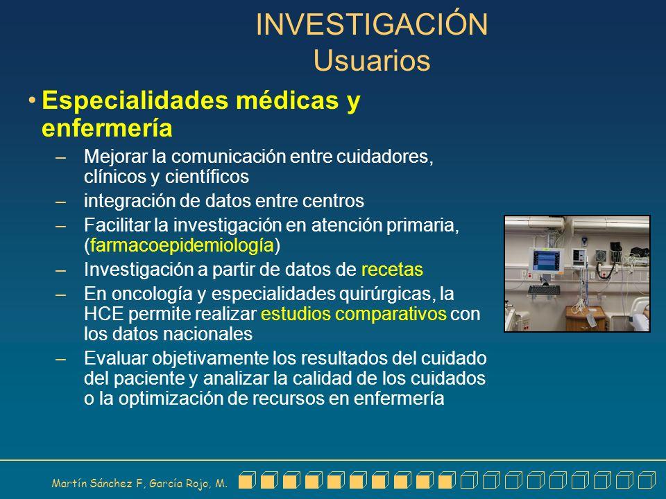Martín Sánchez F, García Rojo, M. INVESTIGACIÓN Usuarios Especialidades médicas y enfermería – Mejorar la comunicación entre cuidadores, clínicos y ci