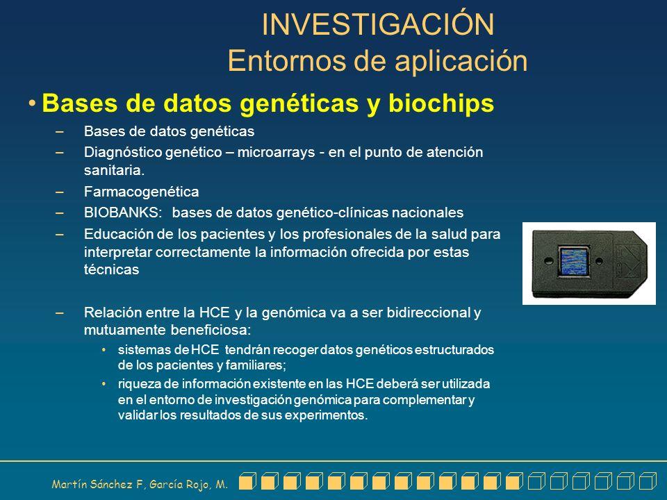 Martín Sánchez F, García Rojo, M. INVESTIGACIÓN Entornos de aplicación Bases de datos genéticas y biochips – Bases de datos genéticas – Diagnóstico ge