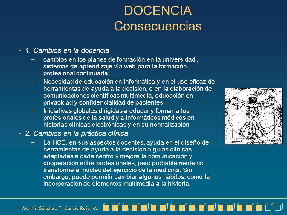 Martín Sánchez F, García Rojo, M. DOCENCIA Consecuencias 1. Cambios en la docencia – cambios en los planes de formación en la universidad, sistemas de