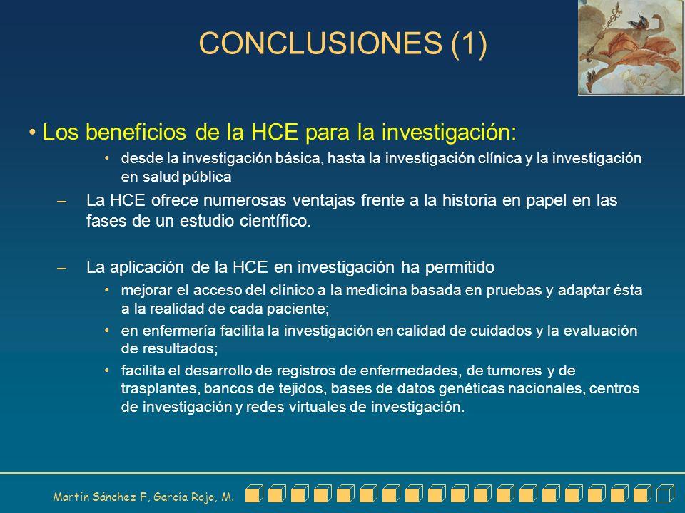 Martín Sánchez F, García Rojo, M. CONCLUSIONES (1) Los beneficios de la HCE para la investigación: desde la investigación básica, hasta la investigaci