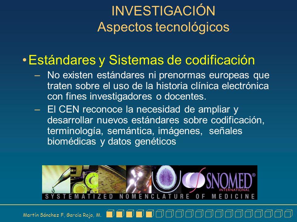 Martín Sánchez F, García Rojo, M. INVESTIGACIÓN Aspectos tecnológicos Estándares y Sistemas de codificación – No existen estándares ni prenormas europ