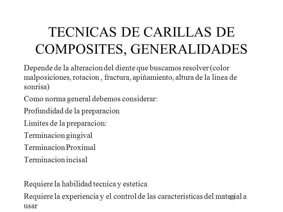 TECNICAS DE CARILLAS DE COMPOSITES, GENERALIDADES Depende de la alteracion del diente que buscamos resolver (color malposiciones, rotacion, fractura,