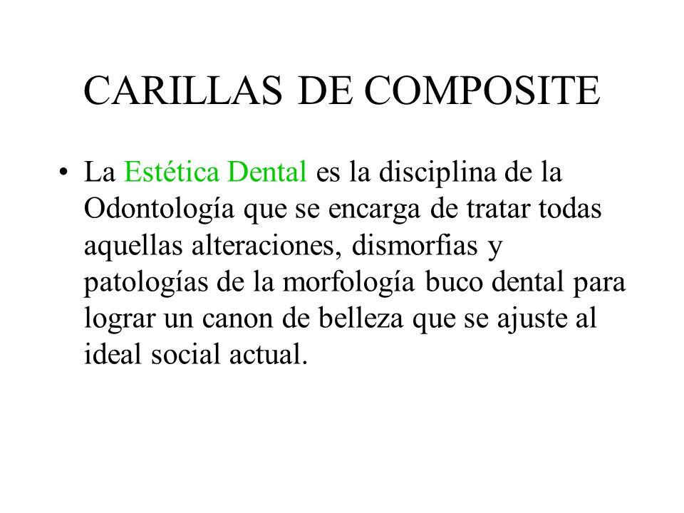 CARILLAS DE COMPOSITE La Estética Dental es la disciplina de la Odontología que se encarga de tratar todas aquellas alteraciones, dismorfias y patolog
