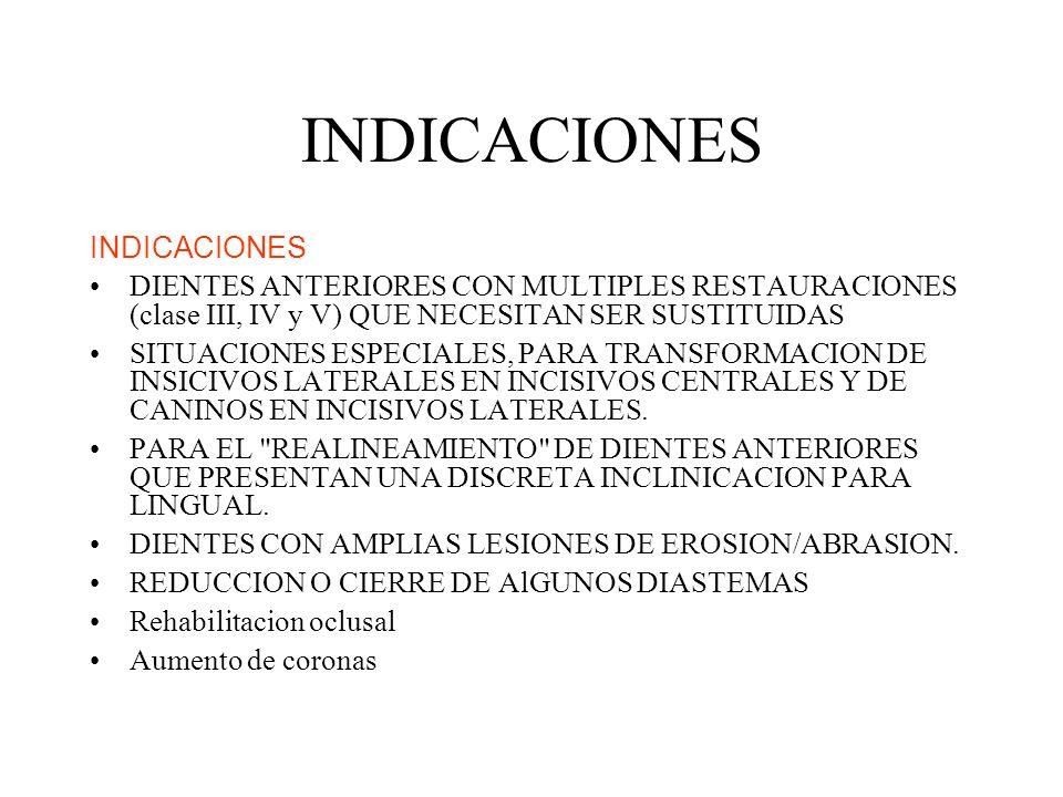 INDICACIONES DIENTES ANTERIORES CON MULTIPLES RESTAURACIONES (clase III, IV y V) QUE NECESITAN SER SUSTITUIDAS SITUACIONES ESPECIALES, PARA TRANSFORMA