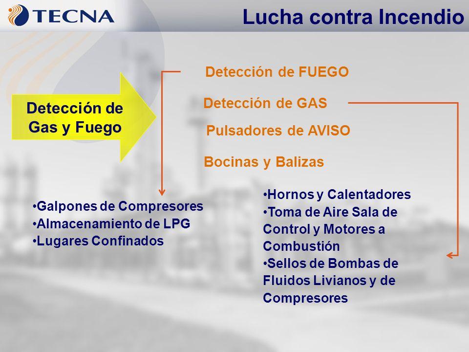 Detección de FUEGO Detección de GAS Pulsadores de AVISO Bocinas y Balizas Lucha contra Incendio Detección de Gas y Fuego Galpones de Compresores Almac