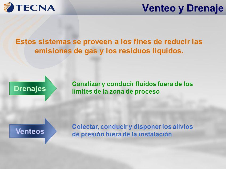Venteo y Drenaje Canalizar y conducir fluidos fuera de los límites de la zona de proceso Estos sistemas se proveen a los fines de reducir las emisione