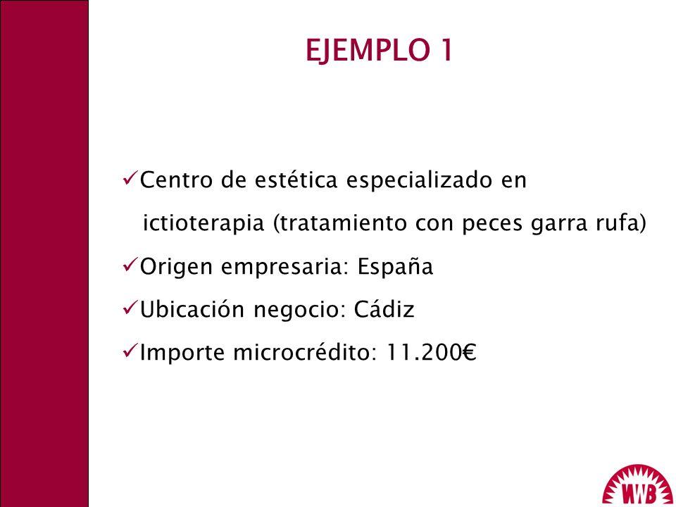 Centro de estética especializado en ictioterapia (tratamiento con peces garra rufa) Origen empresaria: España Ubicación negocio: Cádiz Importe microcr