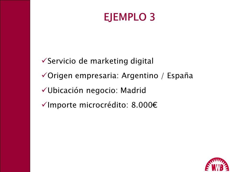Servicio de marketing digital Origen empresaria: Argentino / España Ubicación negocio: Madrid Importe microcrédito: 8.000 EJEMPLO 3