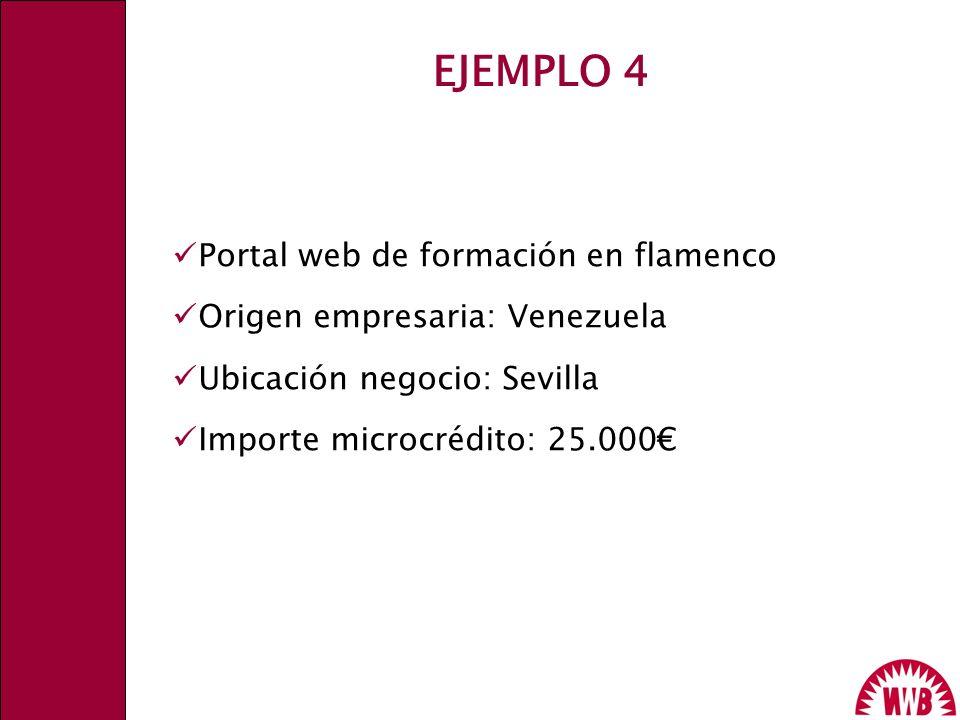 Portal web de formación en flamenco Origen empresaria: Venezuela Ubicación negocio: Sevilla Importe microcrédito: 25.000 EJEMPLO 4