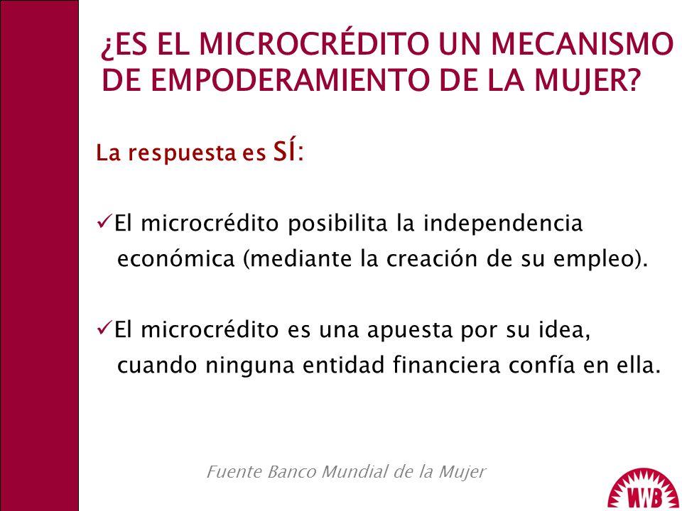 Fuente Banco Mundial de la Mujer El microcrédito posibilita la independencia económica (mediante la creación de su empleo). El microcrédito es una apu