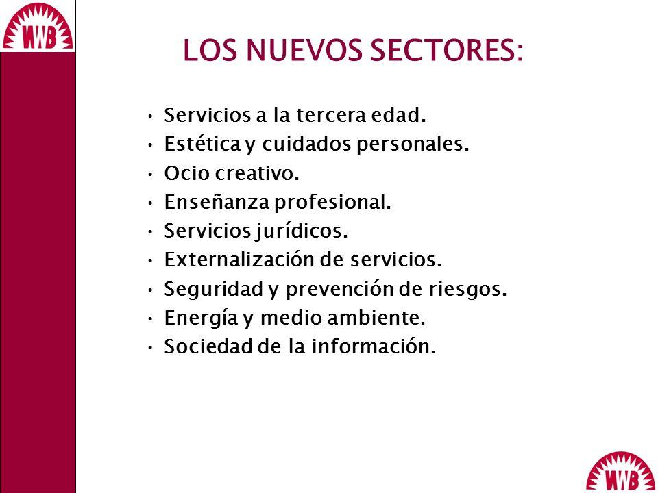 LOS NUEVOS SECTORES: Servicios a la tercera edad. Estética y cuidados personales. Ocio creativo. Enseñanza profesional. Servicios jurídicos. Externali