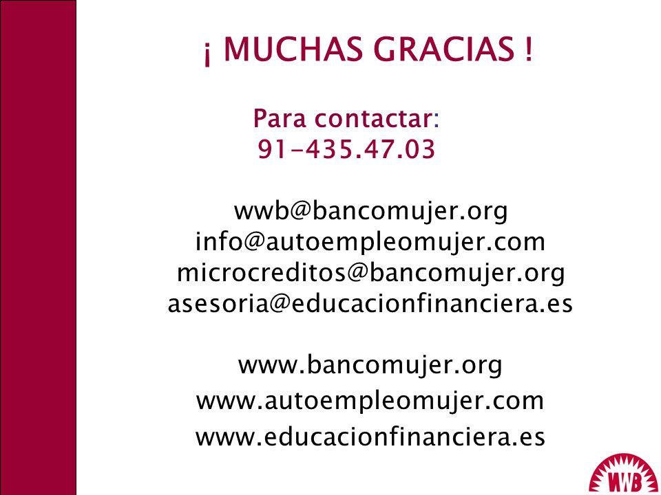 ¡ MUCHAS GRACIAS ! Para contactar: 91-435.47.03 wwb@bancomujer.org info@autoempleomujer.com microcreditos@bancomujer.org asesoria@educacionfinanciera.