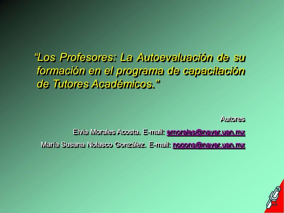Los Profesores: La Autoevaluación de su formación en el programa de capacitación de Tutores Académicos.