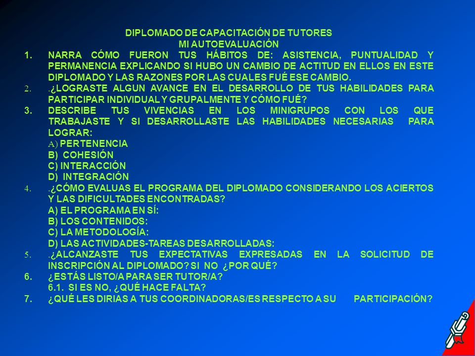 DIPLOMADO DE CAPACITACIÓN DE TUTORES MI AUTOEVALUACIÓN 1.