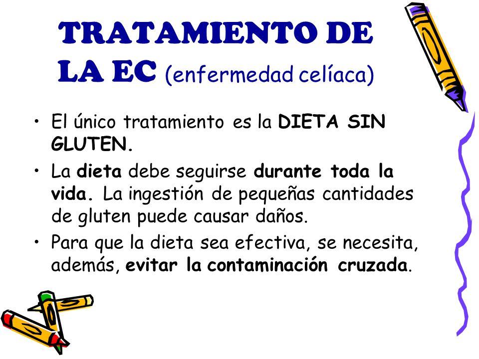 TRATAMIENTO DE LA EC (enfermedad celíaca) El único tratamiento es la DIETA SIN GLUTEN.