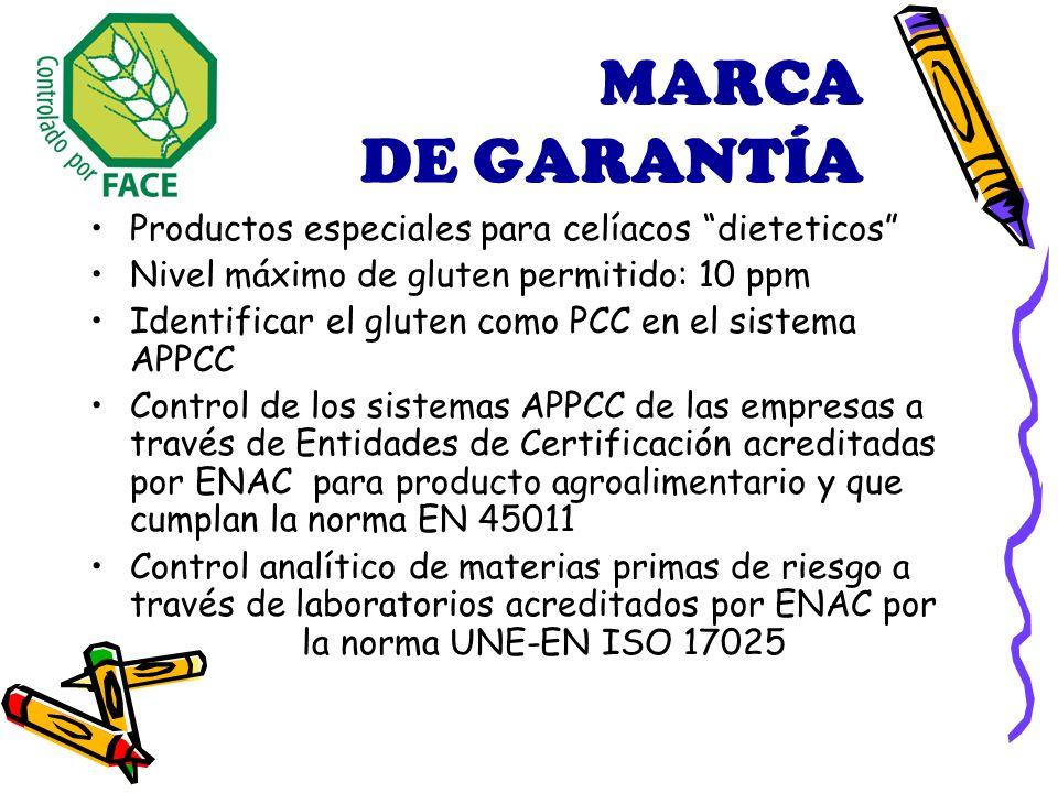 MARCA DE GARANTÍA Productos especiales para celíacos dieteticos Nivel máximo de gluten permitido: 10 ppm Identificar el gluten como PCC en el sistema APPCC Control de los sistemas APPCC de las empresas a través de Entidades de Certificación acreditadas por ENAC para producto agroalimentario y que cumplan la norma EN 45011 Control analítico de materias primas de riesgo a través de laboratorios acreditados por ENAC por la norma UNE-EN ISO 17025