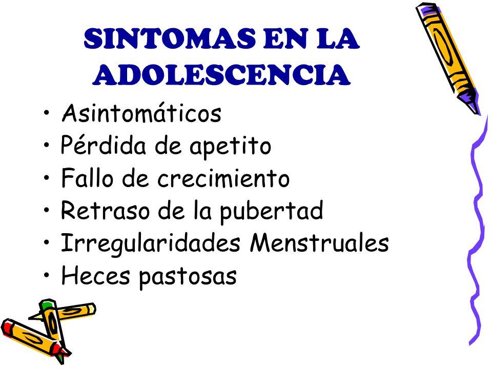 SINTOMAS EN LA ADOLESCENCIA Asintomáticos Pérdida de apetito Fallo de crecimiento Retraso de la pubertad Irregularidades Menstruales Heces pastosas
