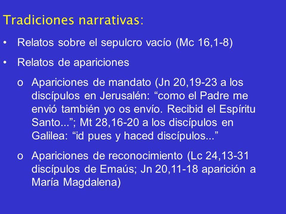 Tradiciones narrativas: Relatos sobre el sepulcro vacío (Mc 16,1-8) Relatos de apariciones oApariciones de mandato (Jn 20,19-23 a los discípulos en Jerusalén: como el Padre me envió también yo os envío.