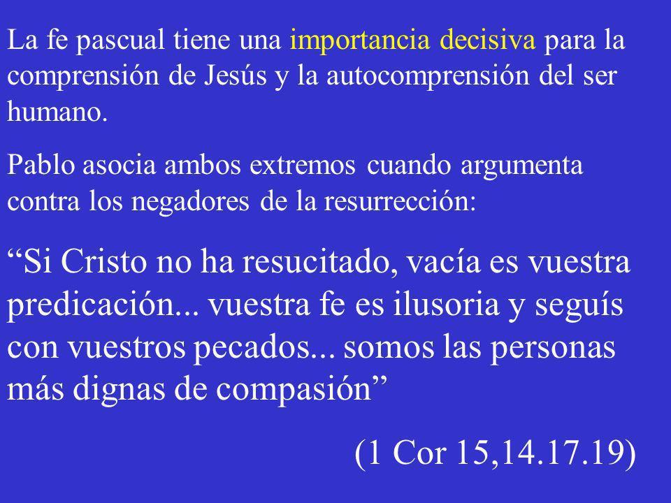 La fe pascual tiene una importancia decisiva para la comprensión de Jesús y la autocomprensión del ser humano.