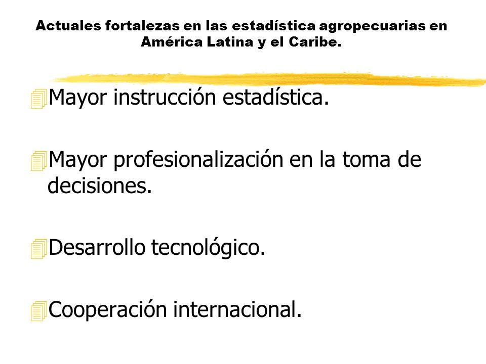 Actuales fortalezas en las estadística agropecuarias en América Latina y el Caribe.