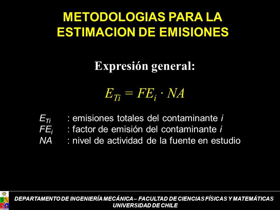 METODOLOGIAS PARA LA ESTIMACION DE EMISIONES Expresión general: E Ti = FE i · NA E Ti : emisiones totales del contaminante i FE i : factor de emisión