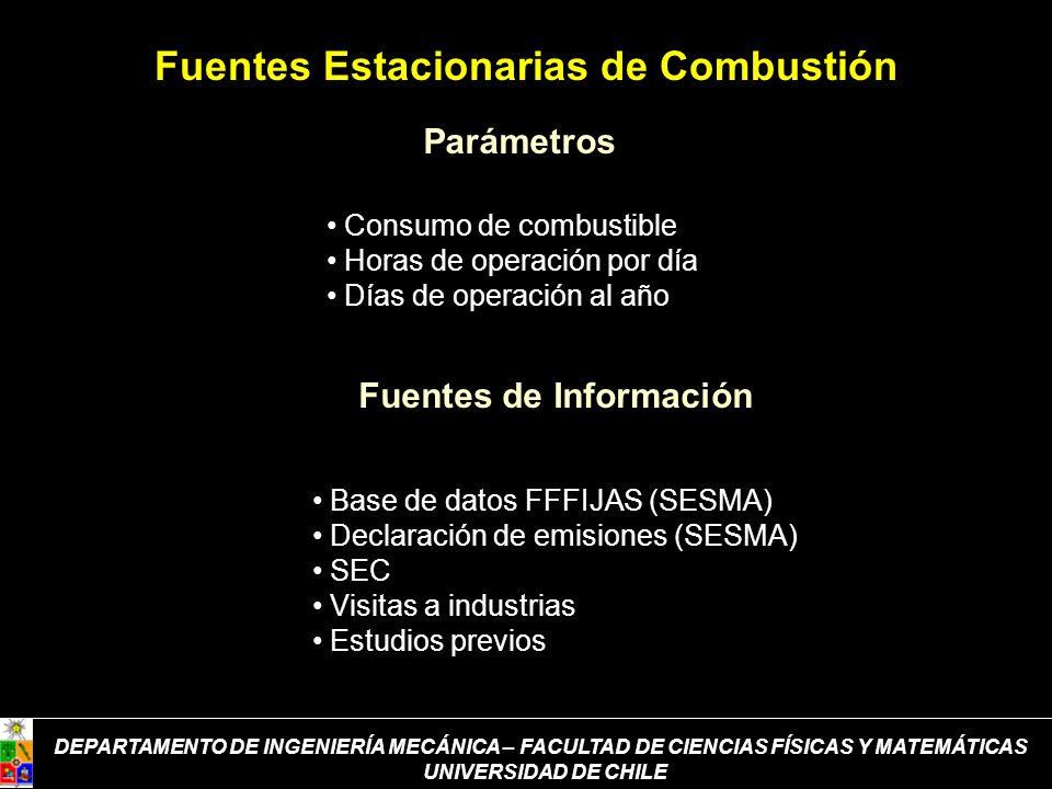 Parámetros Fuentes de Información Consumo de combustible Horas de operación por día Días de operación al año Base de datos FFFIJAS (SESMA) Declaración