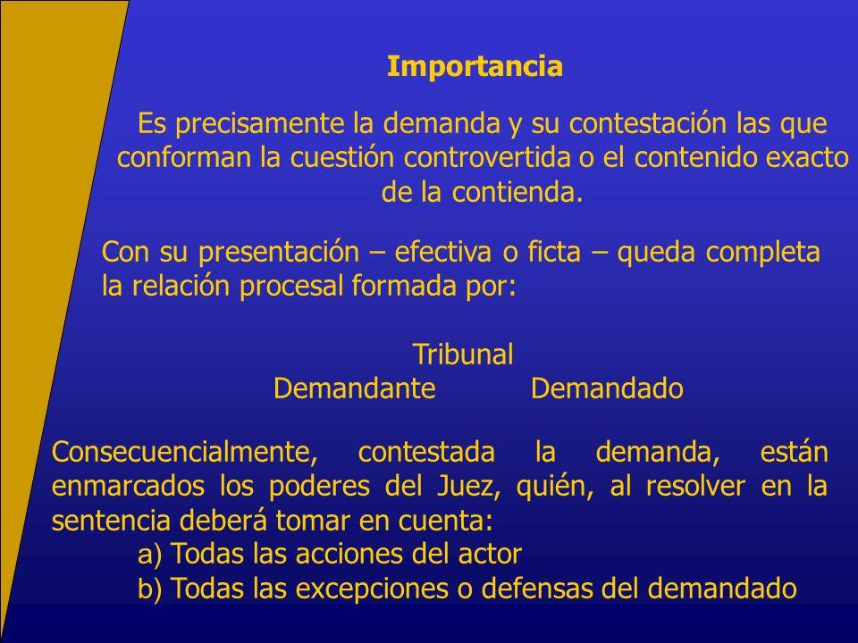 Importancia Es precisamente la demanda y su contestación las que conforman la cuestión controvertida o el contenido exacto de la contienda.