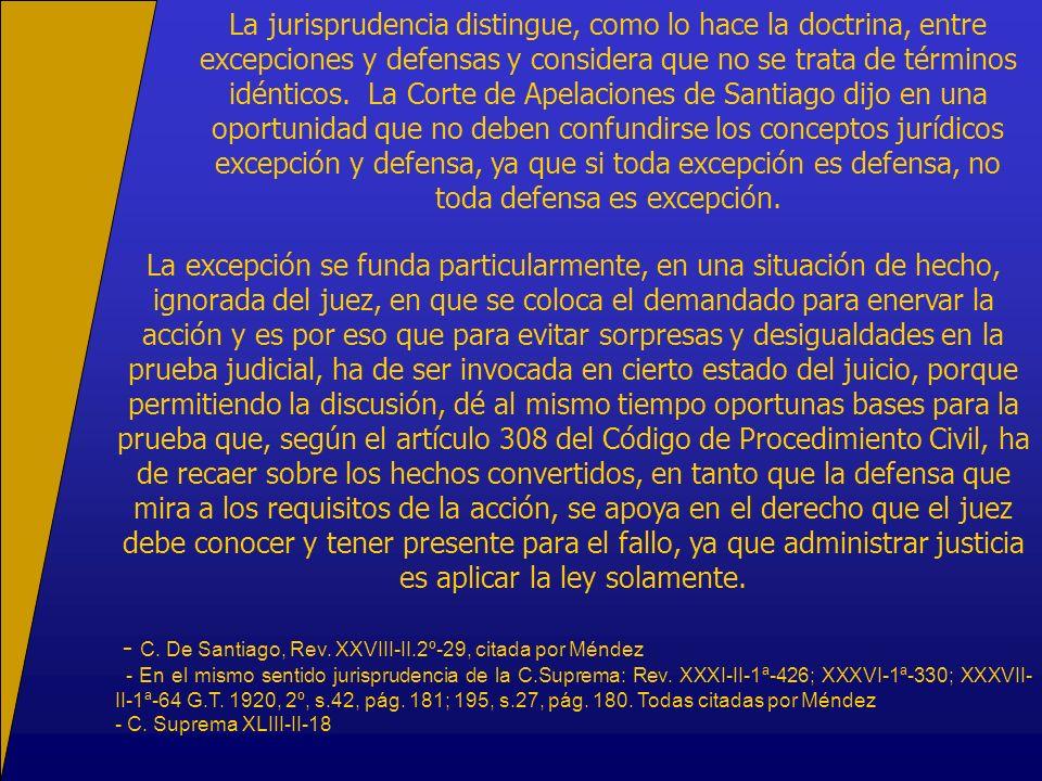 La jurisprudencia distingue, como lo hace la doctrina, entre excepciones y defensas y considera que no se trata de términos idénticos. La Corte de Ape