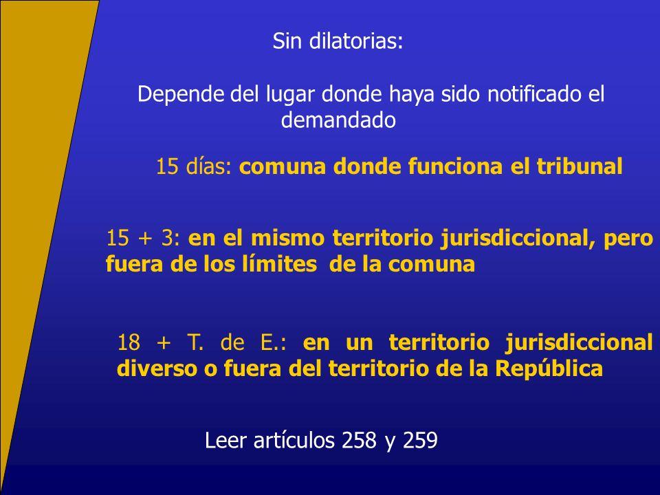 Sin dilatorias: Depende del lugar donde haya sido notificado el demandado 15 días: comuna donde funciona el tribunal 15 + 3: en el mismo territorio jurisdiccional, pero fuera de los límites de la comuna 18 + T.